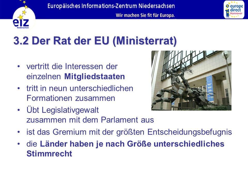 3.2 Der Rat der EU (Ministerrat) vertritt die Interessen der einzelnen Mitgliedstaaten tritt in neun unterschiedlichen Formationen zusammen Übt Legislativgewalt zusammen mit dem Parlament aus ist das Gremium mit der größten Entscheidungsbefugnis die Länder haben je nach Größe unterschiedliches Stimmrecht