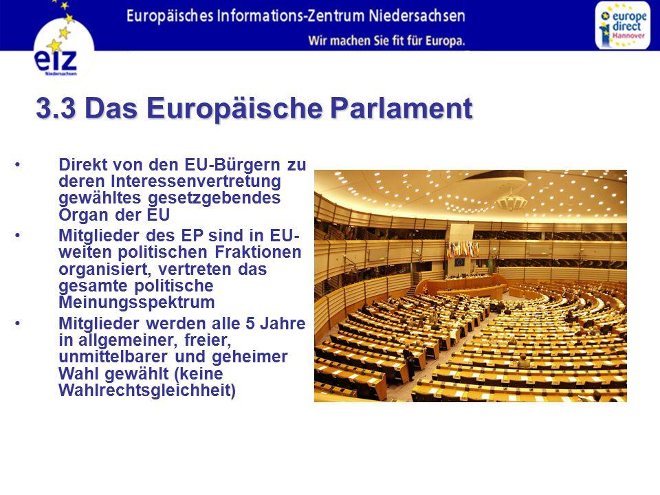 Direkt von den EU-Bürgern zu deren Interessenvertretung gewähltes gesetzgebendes Organ der EU Mitglieder des EP sind in EU- weiten politischen Fraktionen organisiert, vertreten das gesamte politische Meinungsspektrum Mitglieder werden alle 5 Jahre in allgemeiner, freier, unmittelbarer und geheimer Wahl gewählt (keine Wahlrechtsgleichheit) 3.3 Das Europäische Parlament
