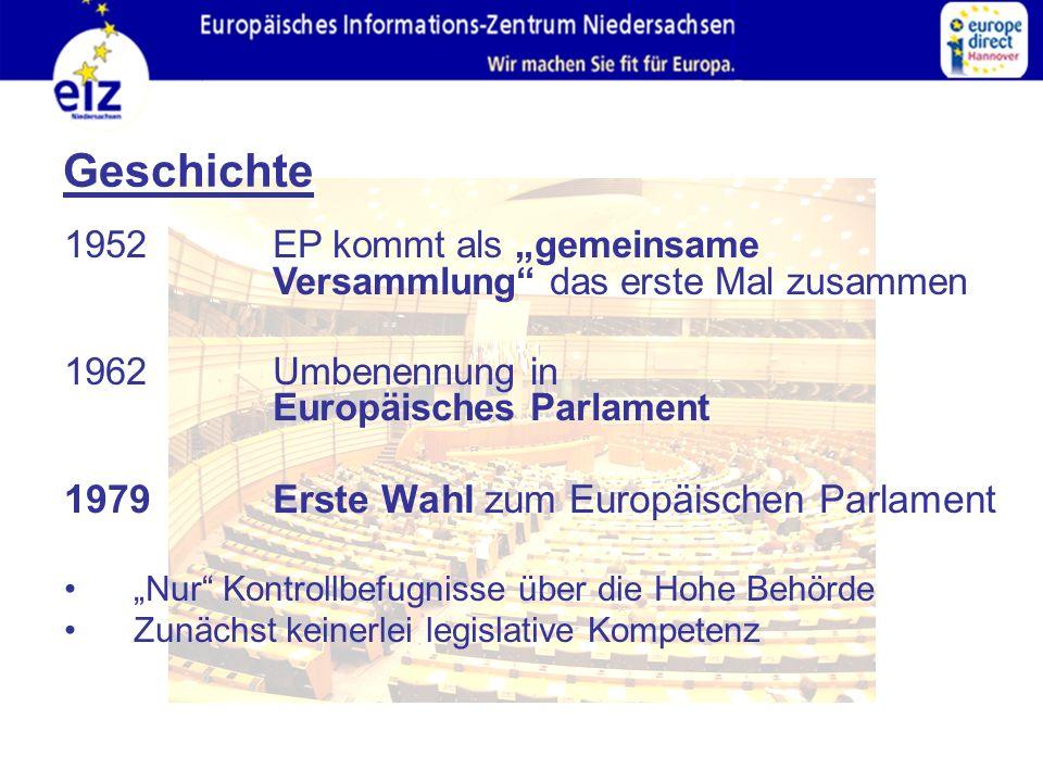 """Geschichte 1952 EP kommt als """"gemeinsame Versammlung das erste Mal zusammen 1962 Umbenennung in Europäisches Parlament 1979Erste Wahl zum Europäischen Parlament """"Nur Kontrollbefugnisse über die Hohe Behörde Zunächst keinerlei legislative Kompetenz"""