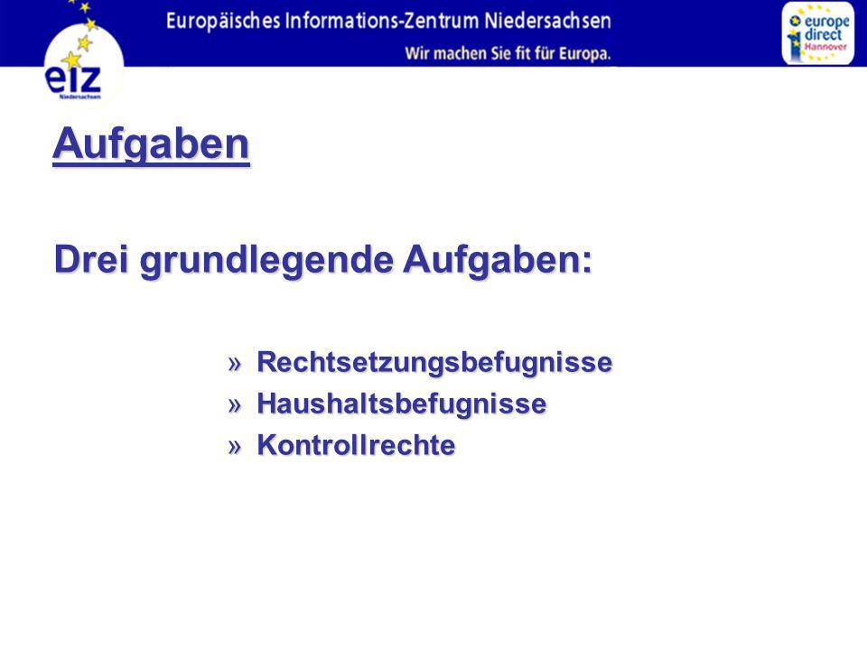 Aufgaben Drei grundlegende Aufgaben: » Rechtsetzungsbefugnisse » Haushaltsbefugnisse » Kontrollrechte