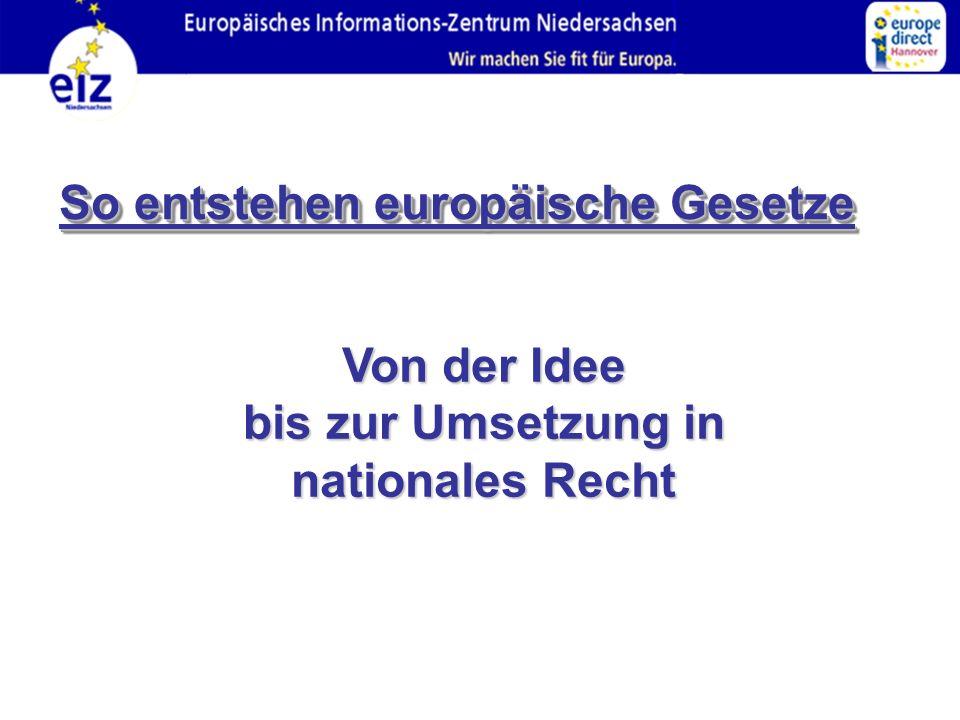 So entstehen europäische Gesetze Von der Idee bis zur Umsetzung in nationales Recht