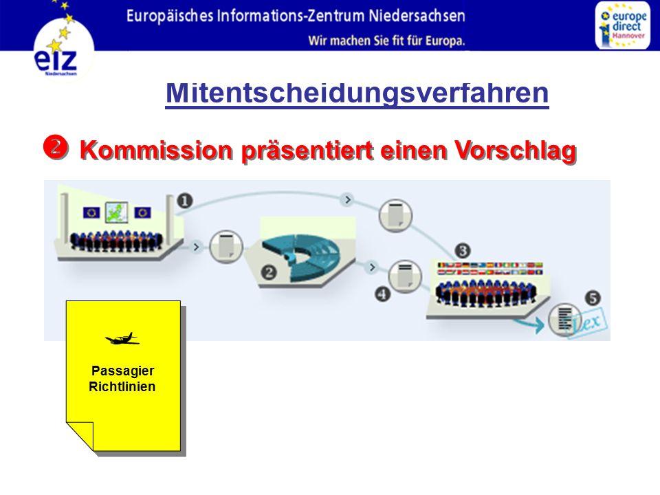  Kommission präsentiert einen Vorschlag Passagier Richtlinien  Mitentscheidungsverfahren