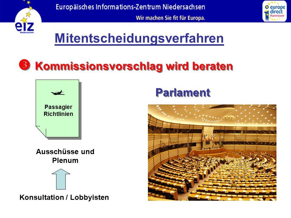  Kommissionsvorschlag wird beraten Parlament Passagier Richtlinien  Ausschüsse und Plenum Konsultation / Lobbyisten Mitentscheidungsverfahren