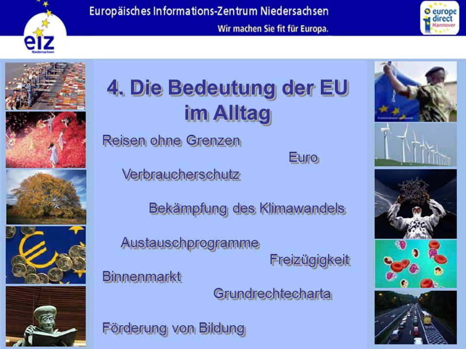 4. Die Bedeutung der EU im Alltag Reisen ohne Grenzen Euro Verbraucherschutz Bekämpfung des Klimawandels Austauschprogramme Freizügigkeit Binnenmarkt