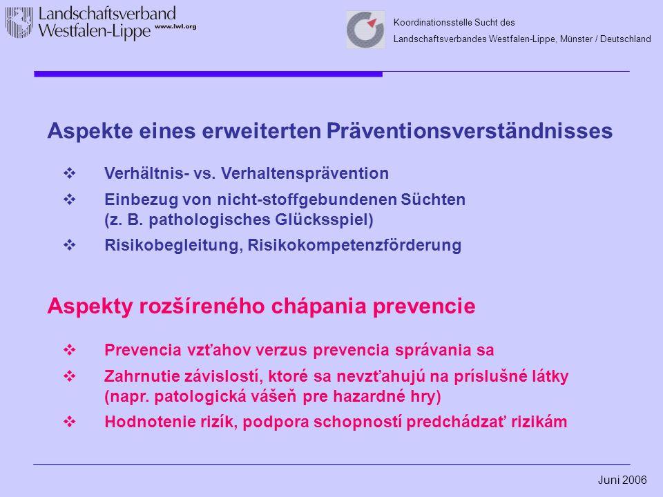 Juni 2006 Koordinationsstelle Sucht des Landschaftsverbandes Westfalen-Lippe, Münster / Deutschland Aspekte eines erweiterten Präventionsverständnisses  Verhältnis- vs.