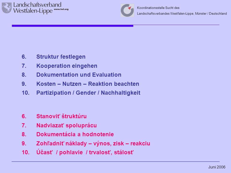 Juni 2006 Koordinationsstelle Sucht des Landschaftsverbandes Westfalen-Lippe, Münster / Deutschland 6.Struktur festlegen 7.Kooperation eingehen 8.Dokumentation und Evaluation 9.Kosten – Nutzen – Reaktion beachten 10.Partizipation / Gender / Nachhaltigkeit 6.Stanoviť štruktúru 7.Nadviazať spoluprácu 8.Dokumentácia a hodnotenie 9.Zohľadniť náklady – výnos, zisk – reakciu 10.Účasť / pohlavie / trvalosť, stálosť