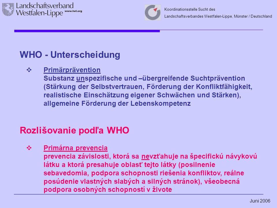 Juni 2006 Koordinationsstelle Sucht des Landschaftsverbandes Westfalen-Lippe, Münster / Deutschland WHO - Unterscheidung  Primärprävention Substanz unspezifische und –übergreifende Suchtprävention (Stärkung der Selbstvertrauen, Förderung der Konfliktfähigkeit, realistische Einschätzung eigener Schwächen und Stärken), allgemeine Förderung der Lebenskompetenz Rozlišovanie podľa WHO  Primárna prevencia prevencia závislosti, ktorá sa nevzťahuje na špecifickú návykovú látku a ktorá presahuje oblasť tejto látky (posilnenie sebavedomia, podpora schopnosti riešenia konfliktov, reálne posúdenie vlastných slabých a silných stránok), všeobecná podpora osobných schopností v živote