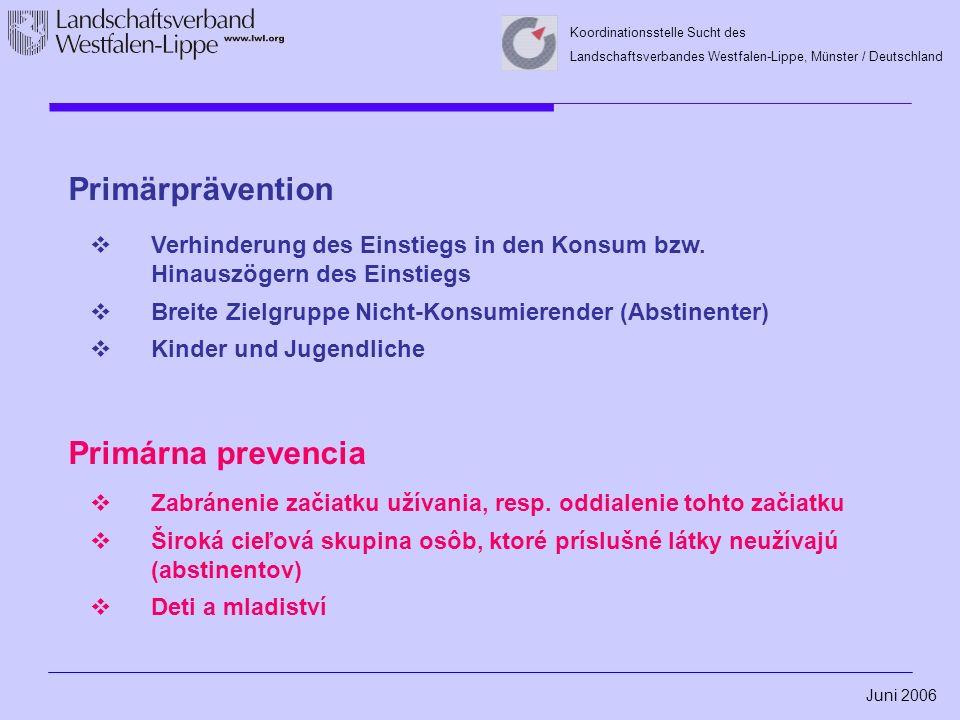 Juni 2006 Koordinationsstelle Sucht des Landschaftsverbandes Westfalen-Lippe, Münster / Deutschland Sekundärprävention  Einflussnahme auf bestehenden Drogenkonsum  Zielgruppe: Konsumierende von Suchtmitteln; Jugendliche mit riskanten Konsummustern ohne manifeste Abhängigkeit  Verhinderung des Umschlagens von Gebrauch in Missbrauch bzw.