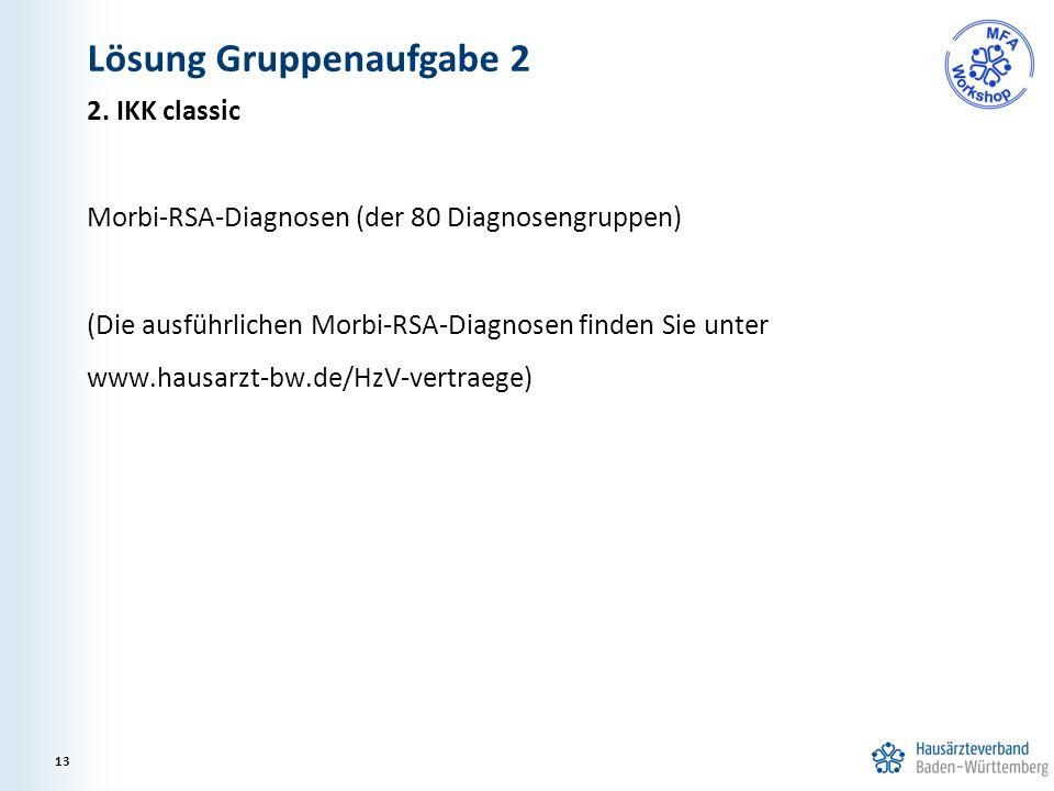 2. IKK classic Morbi-RSA-Diagnosen (der 80 Diagnosengruppen) (Die ausführlichen Morbi-RSA-Diagnosen finden Sie unter www.hausarzt-bw.de/HzV-vertraege)