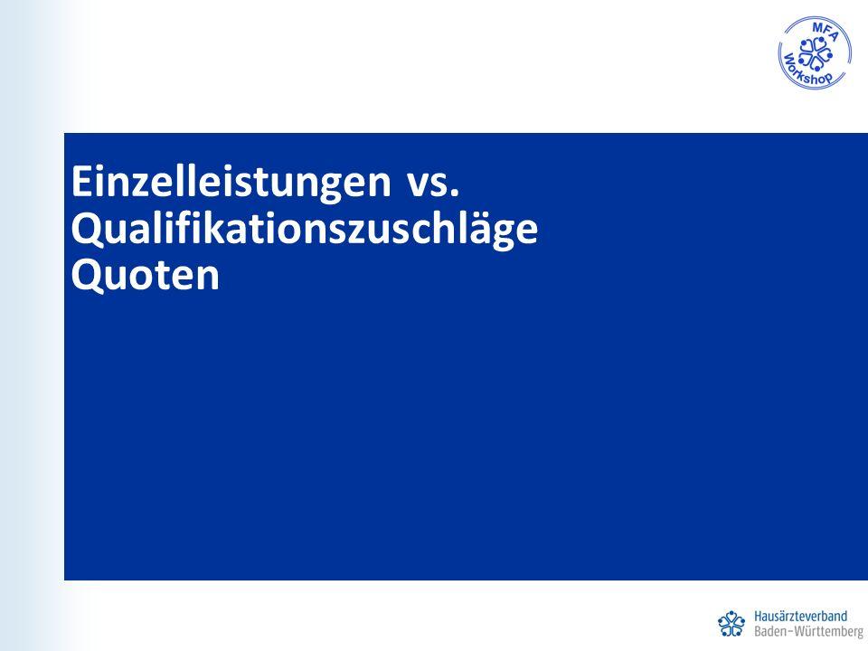 Einzelleistungen vs. Qualifikationszuschläge Quoten
