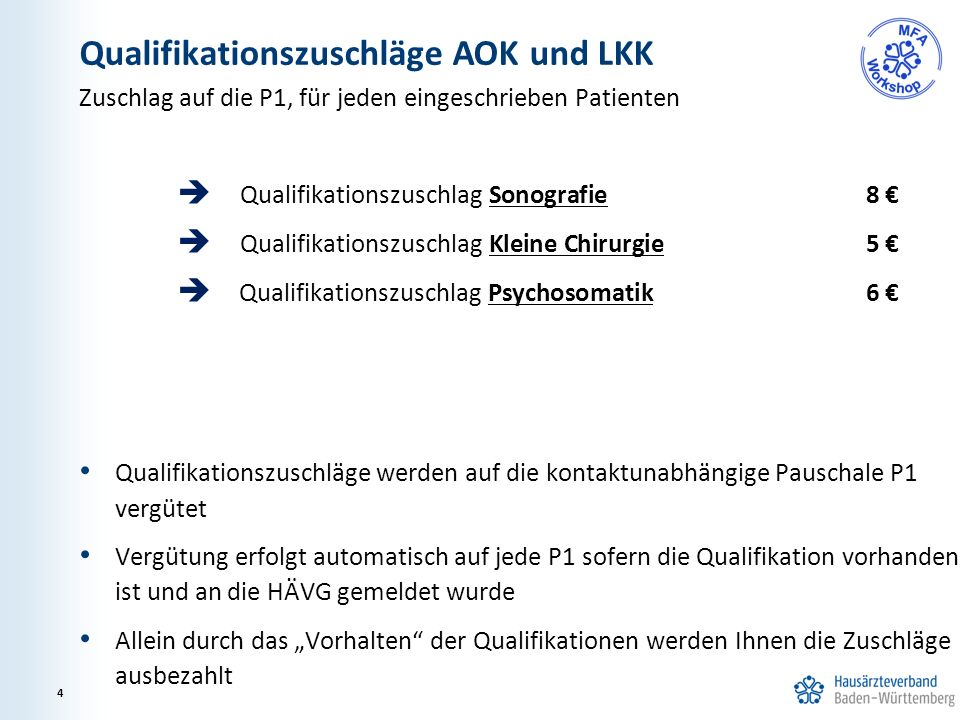 Zuschlag auf die P1, für jeden eingeschrieben Patienten  Qualifikationszuschlag Sonografie 8 €  Qualifikationszuschlag Kleine Chirurgie5 €  Qualifi