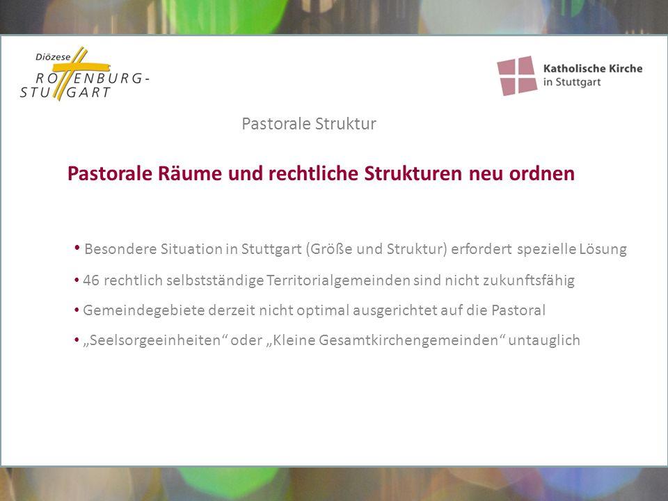 """Besondere Situation in Stuttgart (Größe und Struktur) erfordert spezielle Lösung 46 rechtlich selbstständige Territorialgemeinden sind nicht zukunftsfähig Gemeindegebiete derzeit nicht optimal ausgerichtet auf die Pastoral """"Seelsorgeeinheiten oder """"Kleine Gesamtkirchengemeinden untauglich Pastorale Räume und rechtliche Strukturen neu ordnen Pastorale Struktur"""