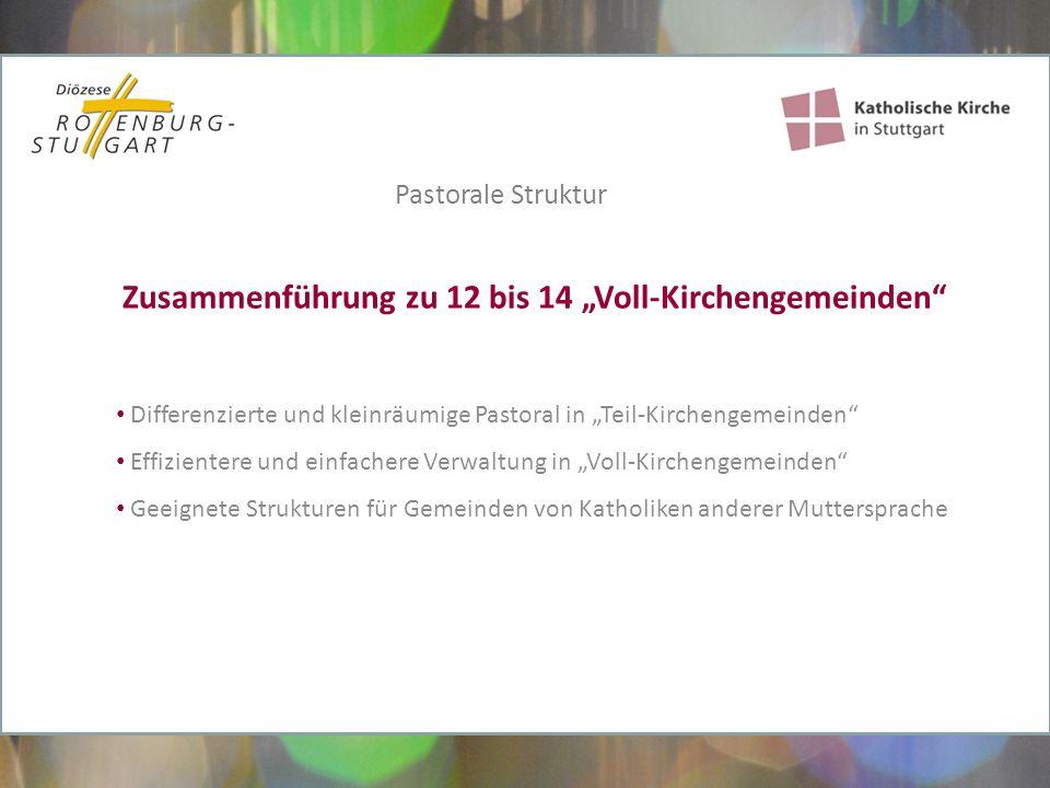 """Vernetzung und Kooperation bereichern alle Partner Kirchengemeinden, Caritas, Einrichtungen, Verbände, Orden, Stiftungen… haben die gleiche """"Klientel : Menschen auf der Suche nach ihrem Glaubens- und Lebensweg Das kirchliche Leben in Stuttgart ist bunt und vielfältig Pastorale Struktur"""