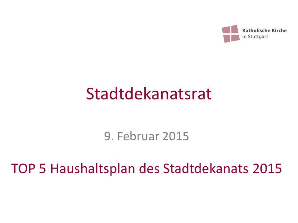Stadtdekanatsrat 9. Februar 2015 TOP 5 Haushaltsplan des Stadtdekanats 2015