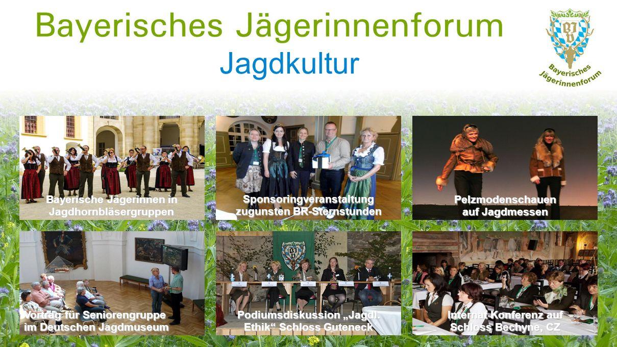 """Jagdkultur Bayerische Jägerinnen in Jagdhornbläsergruppen Vortrag für Seniorengruppe im Deutschen Jagdmuseum Internat Konferenz auf Schloss Bechyne, CZ Sponsoringveranstaltung zugunsten BR-Sternstunden Podiumsdiskussion """"Jagdl."""