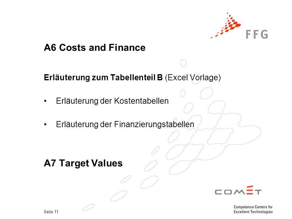 Seite 11 A6 Costs and Finance Erläuterung zum Tabellenteil B (Excel Vorlage) Erläuterung der Kostentabellen Erläuterung der Finanzierungstabellen A7 Target Values