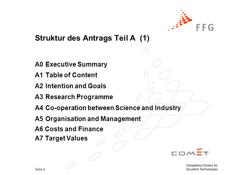 Seite 4 Struktur des Antrags Teil A (1) A0 Executive Summary A1 Table of Content A2 Intention and Goals A3 Research Programme A4 Co-operation between Science and Industry A5 Organisation and Management A6 Costs and Finance A7 Target Values