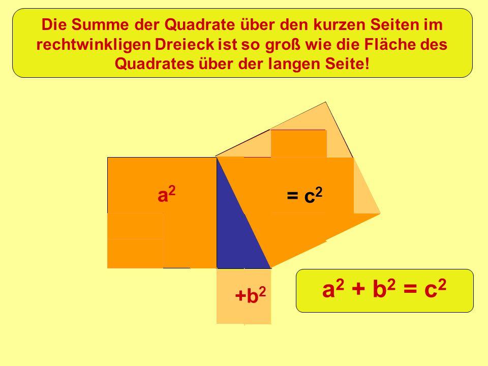 =c 2 +b 2 a2a2 Die Summe der Quadrate über den kurzen Seiten im rechtwinkligen Dreieck ist so groß wie die Fläche des Quadrates über der langen Seite!