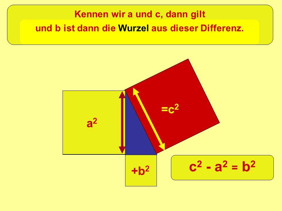 =c 2 +b 2 a2a2 Kennen wir a und c, dann gilt c 2 - a 2 = b 2 und b ist dann die Wurzel aus dieser Differenz.