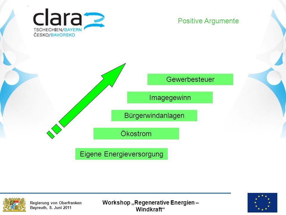 """Regierung von Oberfranken Bayreuth, 8. Juni 2011 Workshop """"Regenerative Energien – Windkraft"""" Positive Argumente Imagegewinn Bürgerwindanlagen Gewerbe"""