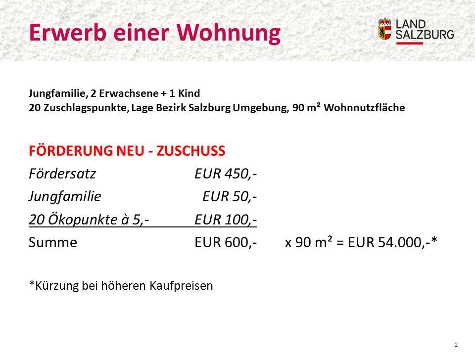 Erwerb einer Wohnung 2 Jungfamilie, 2 Erwachsene + 1 Kind 20 Zuschlagspunkte, Lage Bezirk Salzburg Umgebung, 90 m² Wohnnutzfläche FÖRDERUNG NEU - ZUSCHUSS FördersatzEUR 450,- JungfamilieEUR 50,- 20 Ökopunkte à 5,-EUR 100,- SummeEUR 600,-x 90 m² = EUR 54.000,-* *Kürzung bei höheren Kaufpreisen
