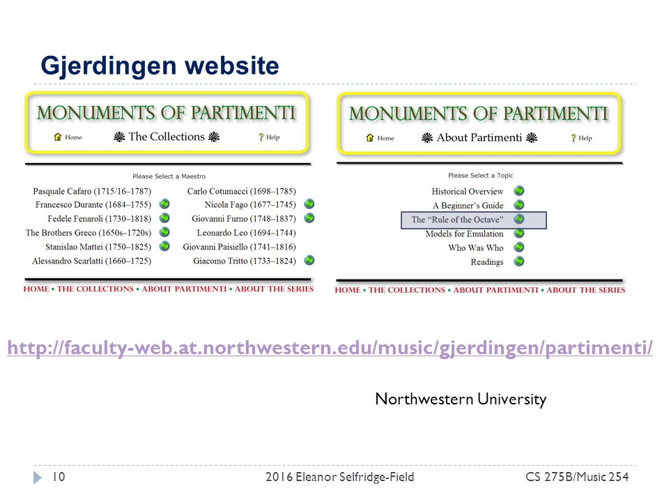 Gjerdingen website 2016 Eleanor Selfridge-Field10CS 275B/Music 254 Northwestern University http://faculty-web.at.northwestern.edu/music/gjerdingen/partimenti/