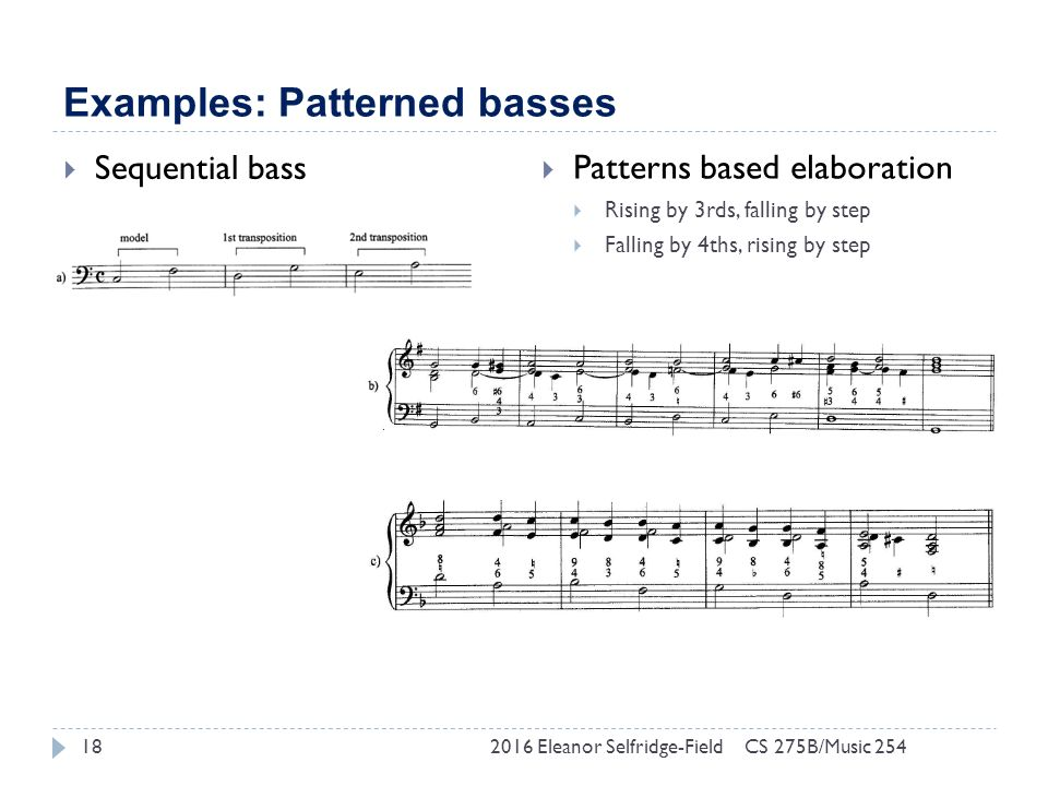 Examples: Patterned basses 2016 Eleanor Selfridge-Field18  Sequential bass  Patterns based elaboration  Rising by 3rds, falling by step  Falling by 4ths, rising by step CS 275B/Music 254