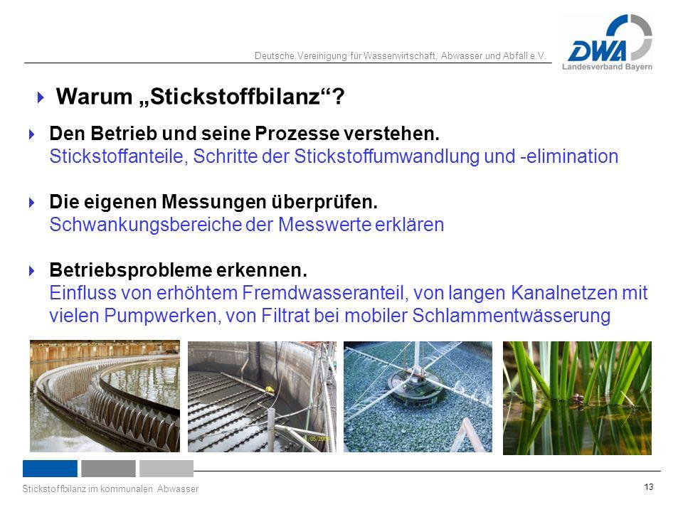 """Deutsche Vereinigung für Wasserwirtschaft, Abwasser und Abfall e.V. Stickstoffbilanz im kommunalen Abwasser 13  Warum """"Stickstoffbilanz""""?  Den Betri"""