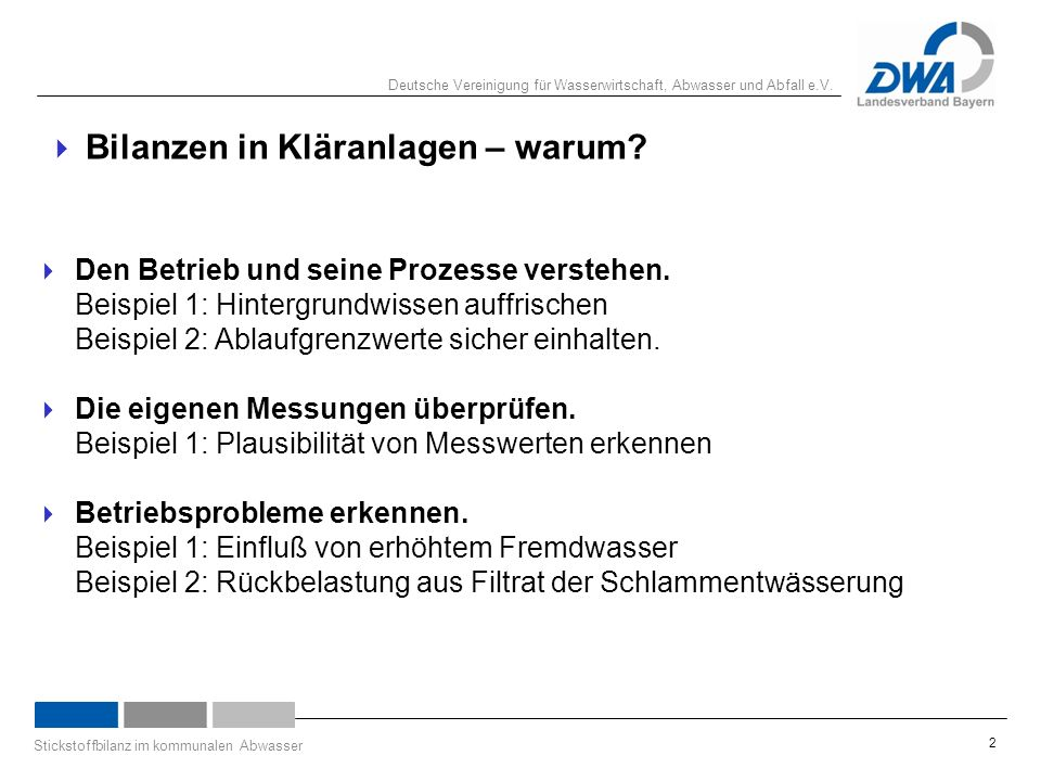 Deutsche Vereinigung für Wasserwirtschaft, Abwasser und Abfall e.V. Stickstoffbilanz im kommunalen Abwasser 2  Bilanzen in Kläranlagen – warum?  Den