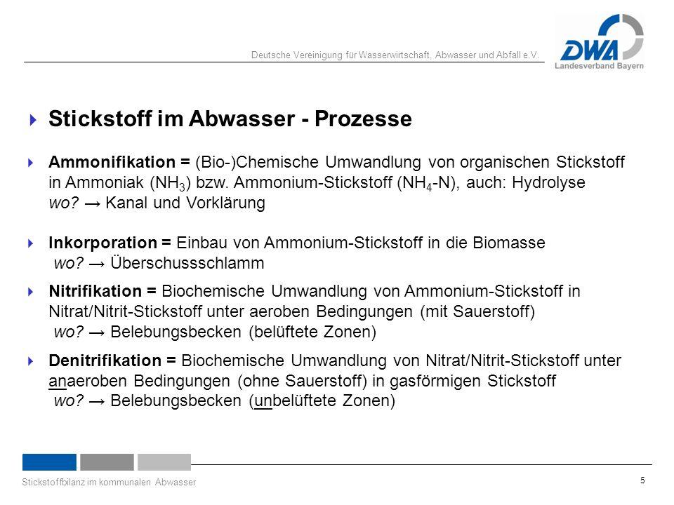 Deutsche Vereinigung für Wasserwirtschaft, Abwasser und Abfall e.V. Stickstoffbilanz im kommunalen Abwasser 5  Stickstoff im Abwasser - Prozesse  Am