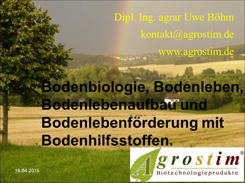 Dipl. Ing. agrar Uwe Böhm kontakt@agrostim.de www.agrostim.de Bodenbiologie, Bodenleben, Bodenlebenaufbau und Bodenlebenförderung mit Bodenhilfsstoffe