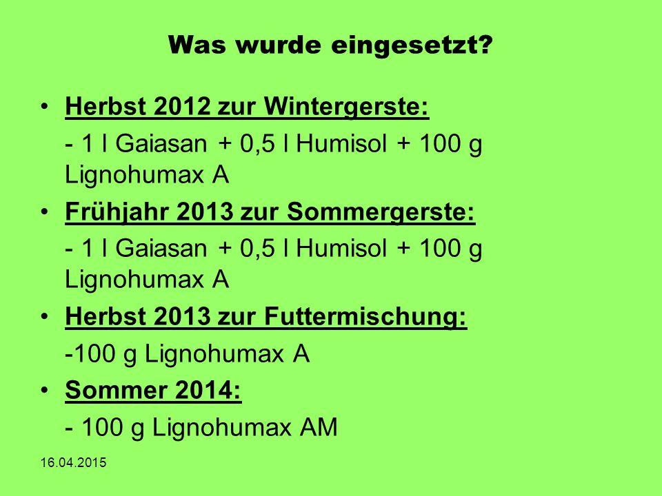 Was wurde eingesetzt? Herbst 2012 zur Wintergerste: - 1 l Gaiasan + 0,5 l Humisol + 100 g Lignohumax A Frühjahr 2013 zur Sommergerste: - 1 l Gaiasan +