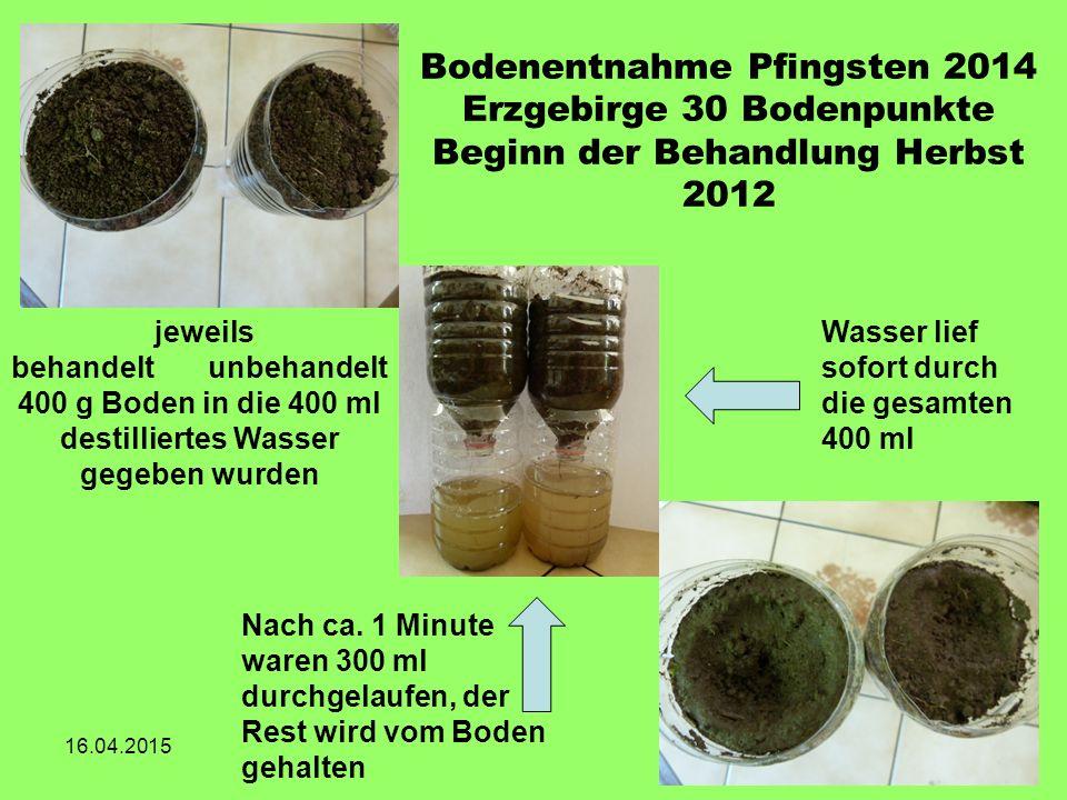 Bodenentnahme Pfingsten 2014 Erzgebirge 30 Bodenpunkte Beginn der Behandlung Herbst 2012 16.04.2015 jeweils behandelt unbehandelt 400 g Boden in die 4