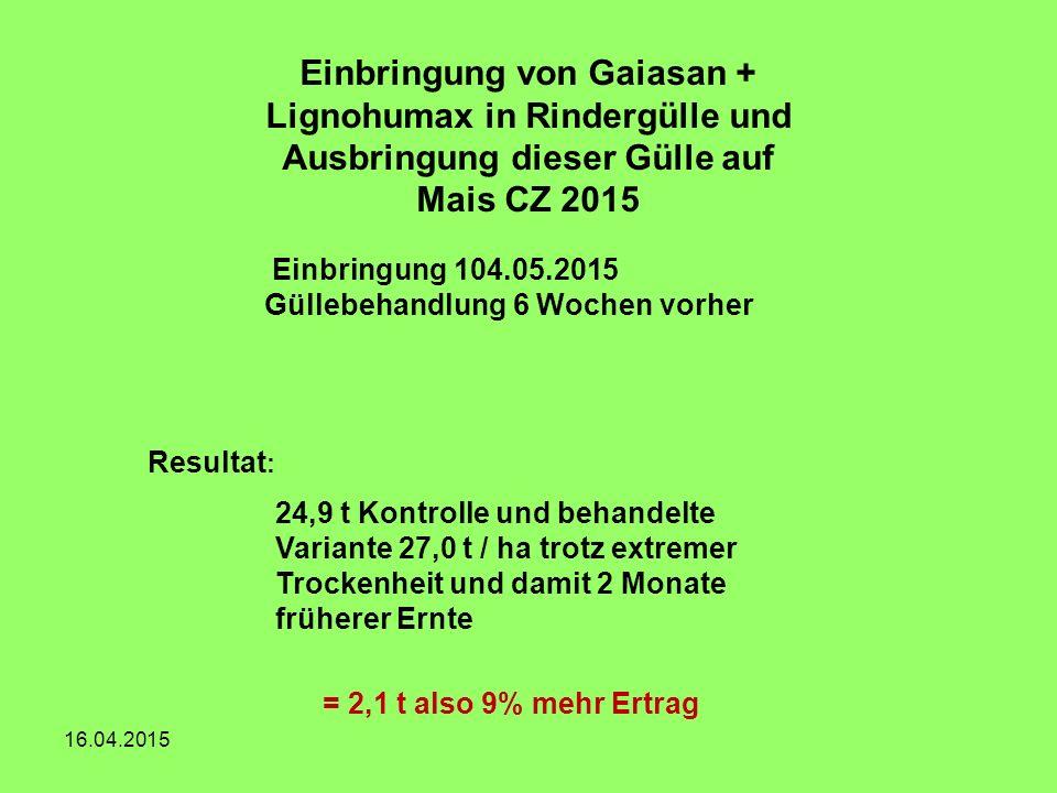 16.04.2015 24,9 t Kontrolle und behandelte Variante 27,0 t / ha trotz extremer Trockenheit und damit 2 Monate früherer Ernte Einbringung von Gaiasan +