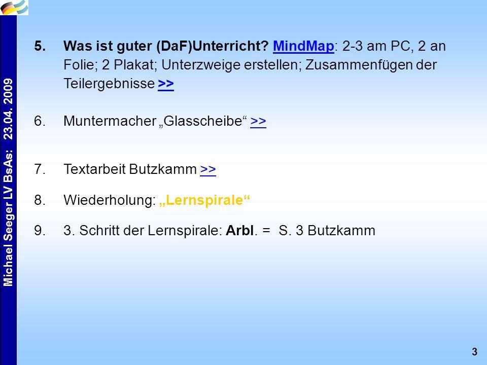 3 Michael Seeger LV BsAs: 23.04. 2009 5.Was ist guter (DaF)Unterricht? MindMap: 2-3 am PC, 2 an Folie; 2 Plakat; Unterzweige erstellen; Zusammenfügen