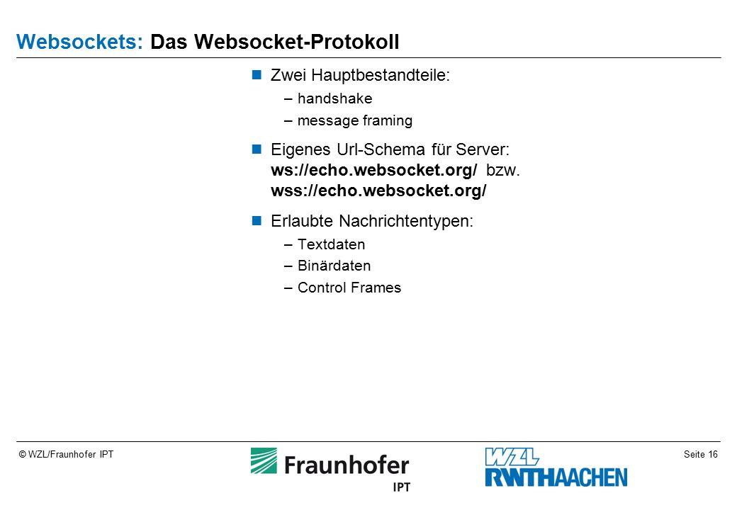 Seite 16© WZL/Fraunhofer IPT Websockets: Das Websocket-Protokoll Zwei Hauptbestandteile: –handshake –message framing Eigenes Url-Schema für Server: ws://echo.websocket.org/ bzw.