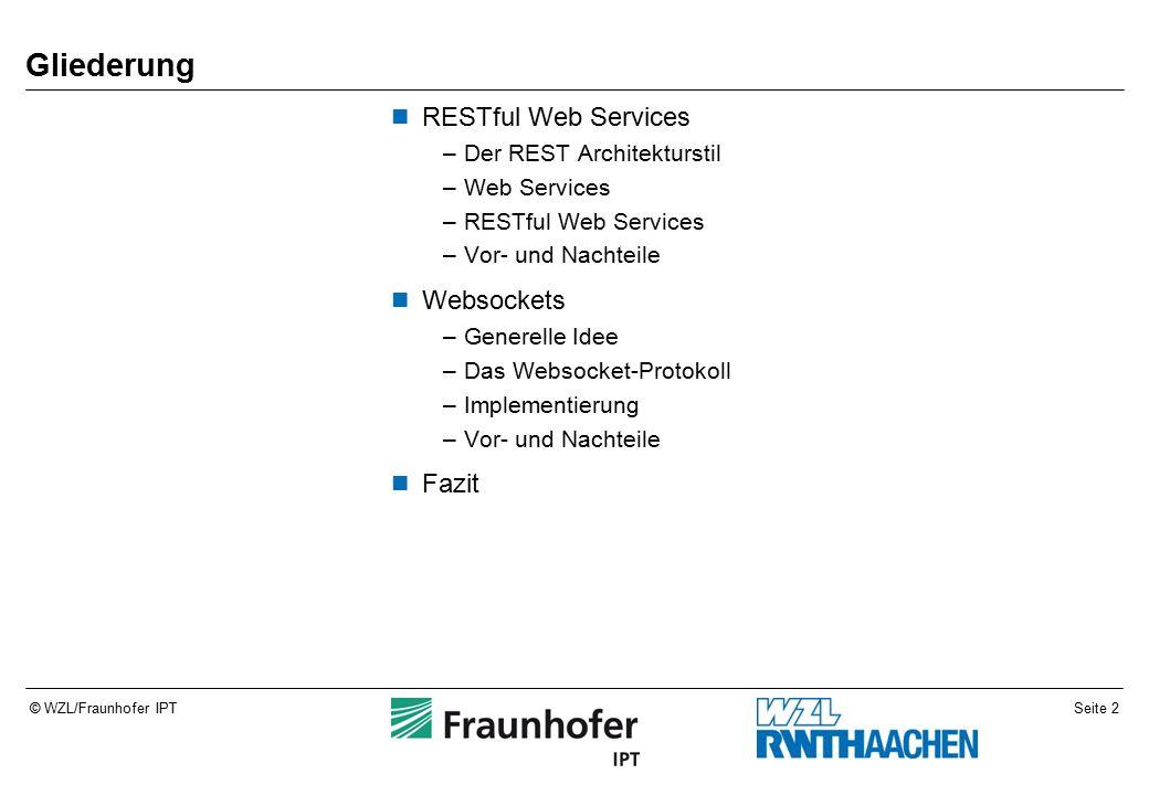 © WZL/Fraunhofer IPT RESTful Web Services –Der REST Architekturstil –Web Services –RESTful Web Services –Vor- und Nachteile