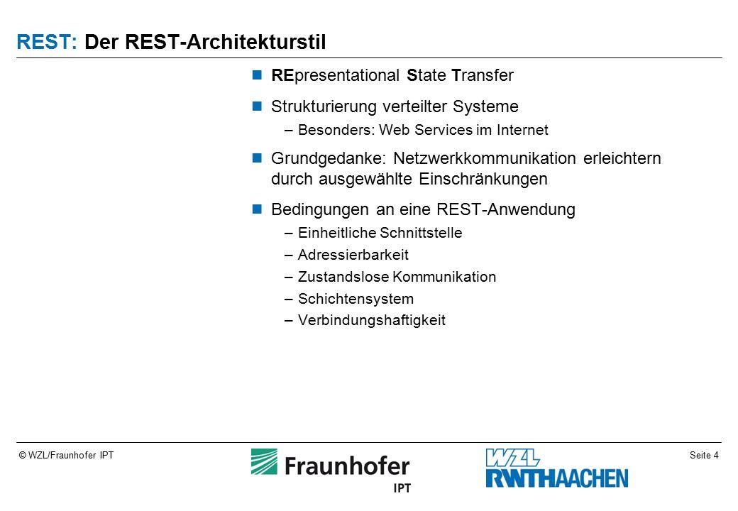 Seite 15© WZL/Fraunhofer IPT Websockets: Generelle Idee Grundmodell: Socket Asynchrone Kommunikation TCP-Datenstrom über HTTP-Sitzung –Implememtiert als HTTP-Upgrade Ermöglicht Socket-Tunnel über verteilte Netzwerke