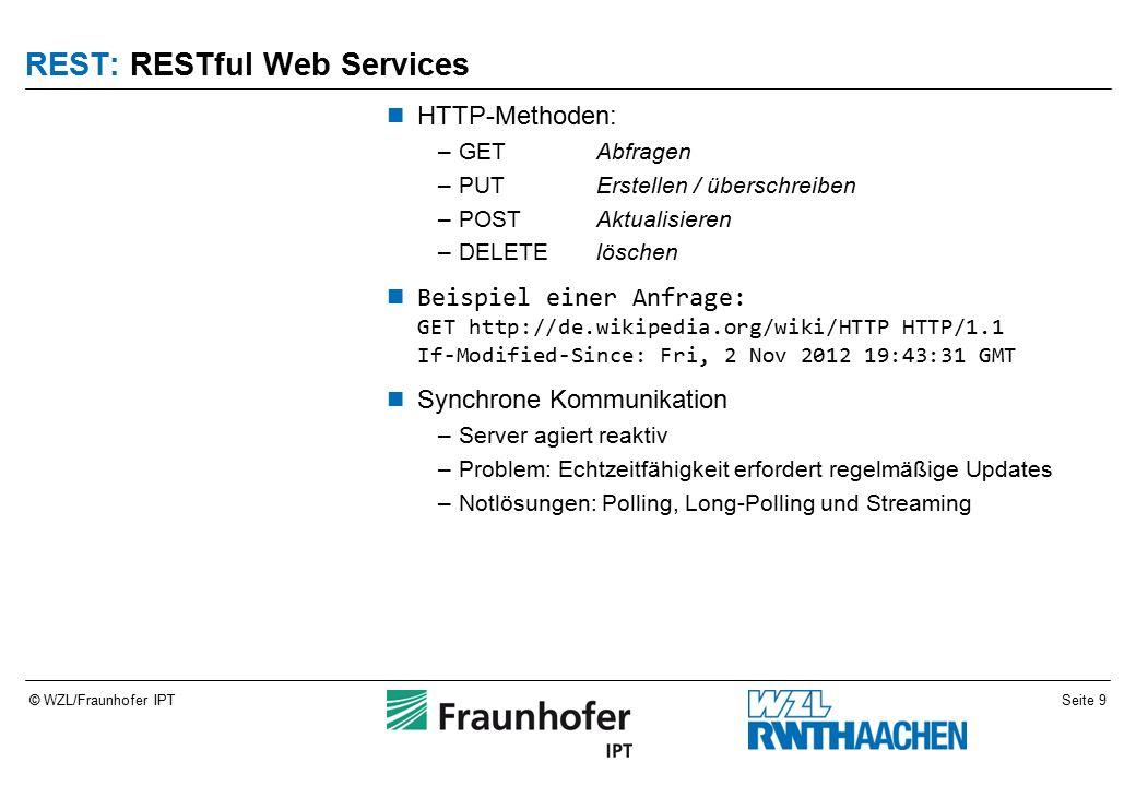 Seite 9© WZL/Fraunhofer IPT REST: RESTful Web Services HTTP-Methoden: –GETAbfragen –PUTErstellen / überschreiben –POSTAktualisieren –DELETElöschen Beispiel einer Anfrage: GET http://de.wikipedia.org/wiki/HTTP HTTP/1.1 If-Modified-Since: Fri, 2 Nov 2012 19:43:31 GMT Synchrone Kommunikation –Server agiert reaktiv –Problem: Echtzeitfähigkeit erfordert regelmäßige Updates –Notlösungen: Polling, Long-Polling und Streaming