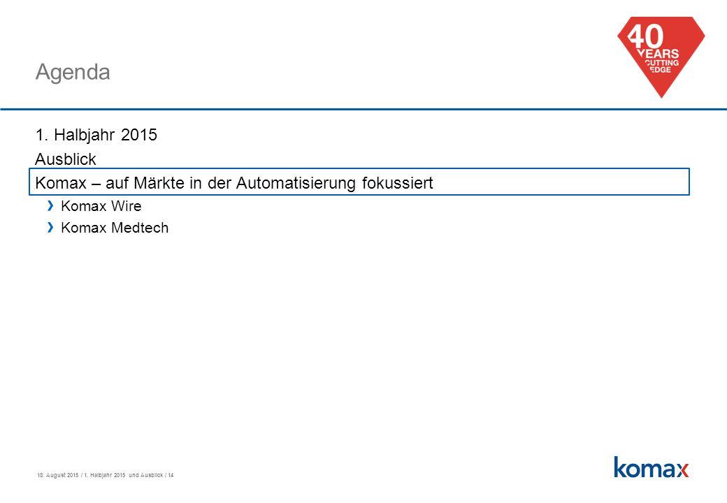 18. August 2015 / 1. Halbjahr 2015 und Ausblick / 14 Agenda 1.