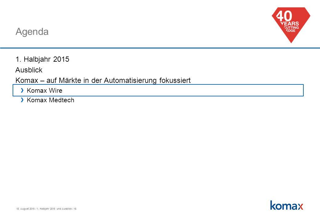 18. August 2015 / 1. Halbjahr 2015 und Ausblick / 16 Agenda 1.