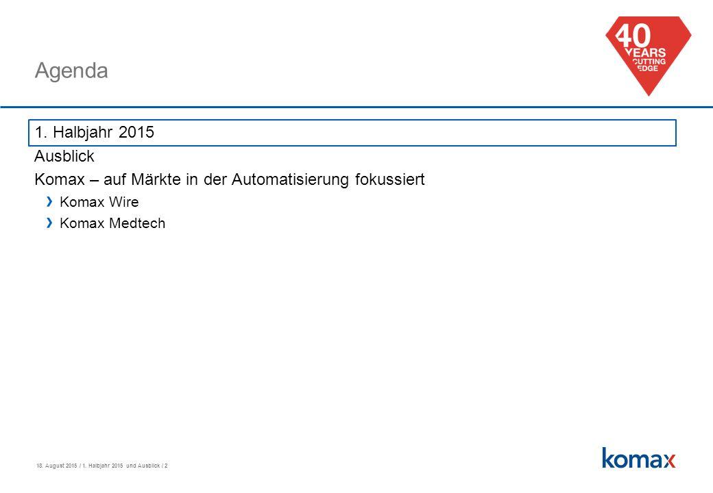 18. August 2015 / 1. Halbjahr 2015 und Ausblick / 2 Agenda 1.