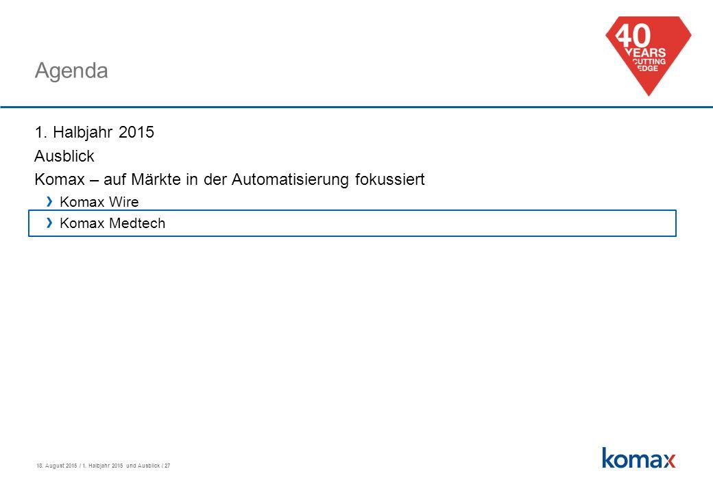 18. August 2015 / 1. Halbjahr 2015 und Ausblick / 27 Agenda 1.