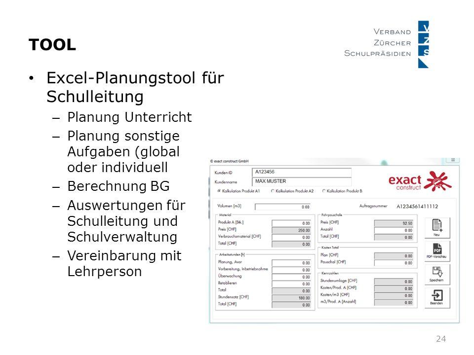 TOOL Excel-Planungstool für Schulleitung – Planung Unterricht – Planung sonstige Aufgaben (global oder individuell – Berechnung BG – Auswertungen für