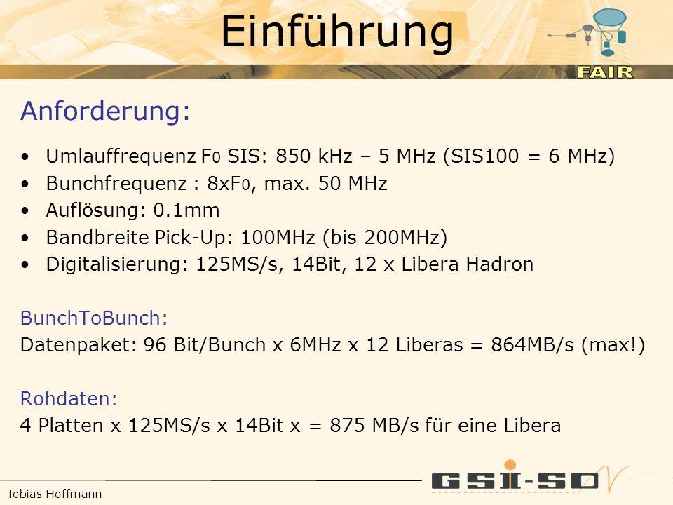 Tobias Hoffmann Einführung Anforderung: Umlauffrequenz F 0 SIS: 850 kHz – 5 MHz (SIS100 = 6 MHz) Bunchfrequenz : 8xF 0, max.