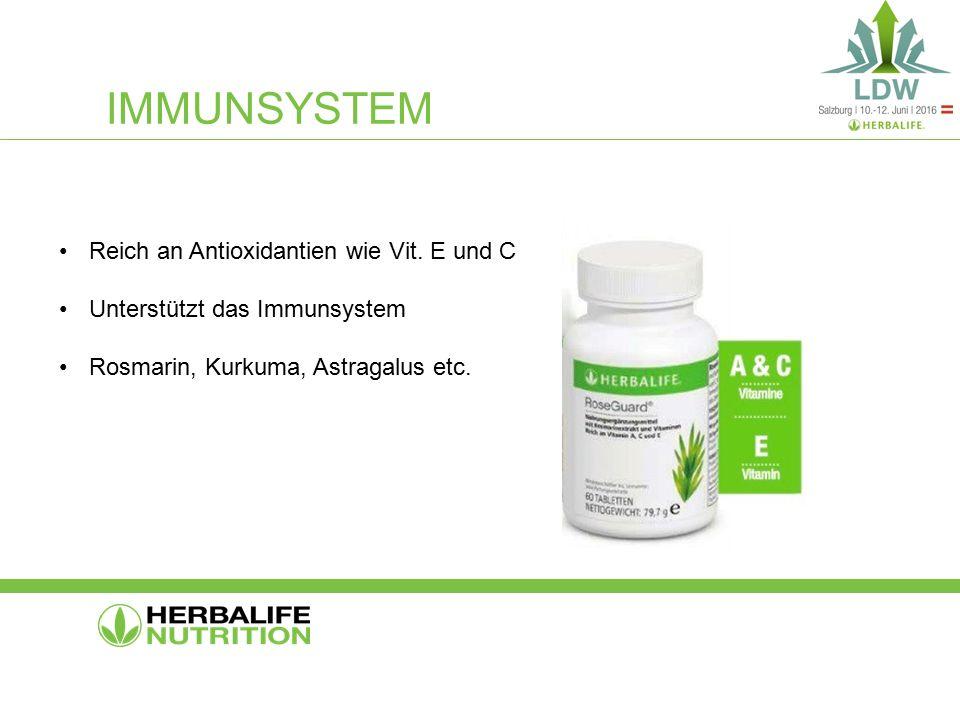 IMMUNSYSTEM Reich an Antioxidantien wie Vit. E und C Unterstützt das Immunsystem Rosmarin, Kurkuma, Astragalus etc.