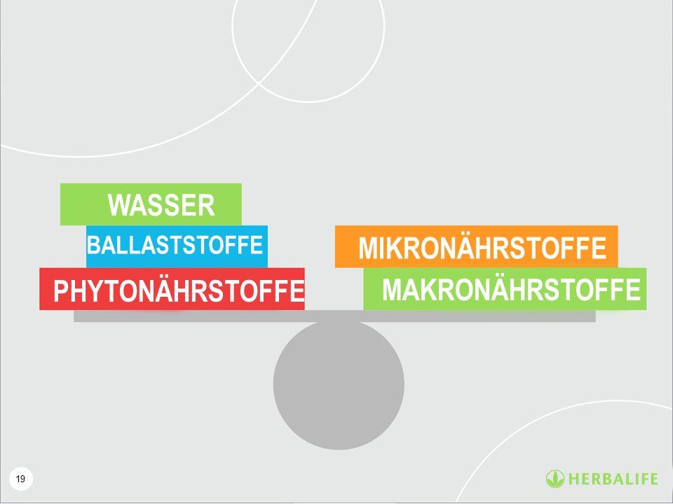 19 WASSER BALLASTSTOFFE PHYTONÄHRSTOFFE MIKRONÄHRSTOFFE MAKRONÄHRSTOFFE
