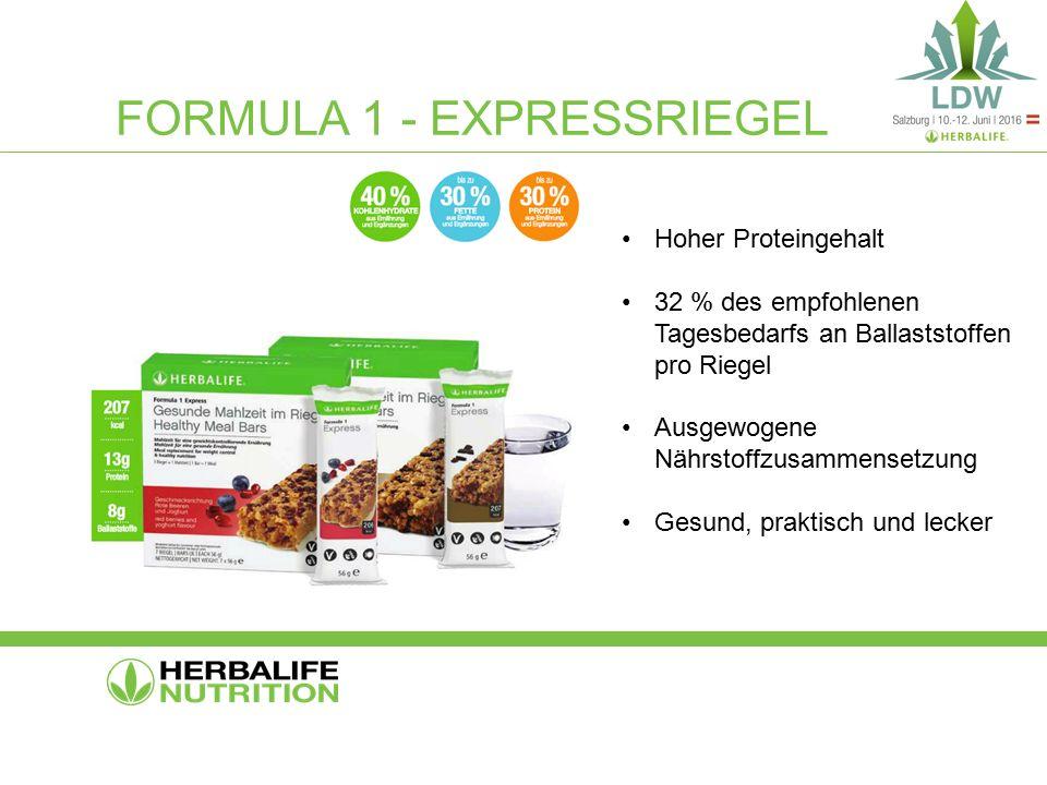 FORMULA 1 - EXPRESSRIEGEL Hoher Proteingehalt 32 % des empfohlenen Tagesbedarfs an Ballaststoffen pro Riegel Ausgewogene Nährstoffzusammensetzung Gesund, praktisch und lecker