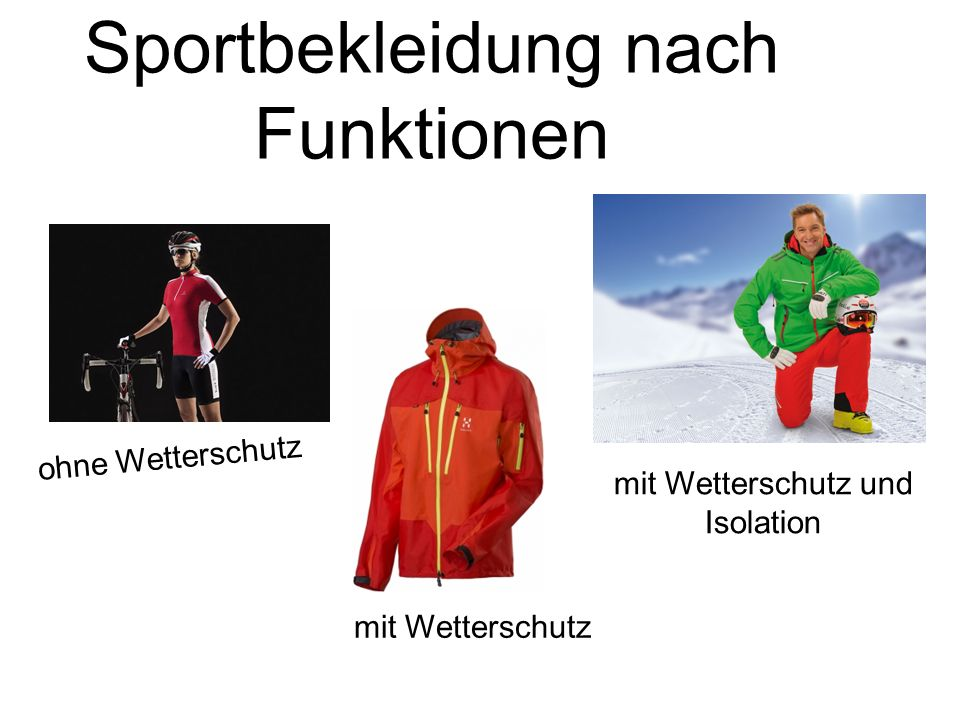 Sportbekleidung nach Funktionen ohne Wetterschutz mit Wetterschutz mit Wetterschutz und Isolation