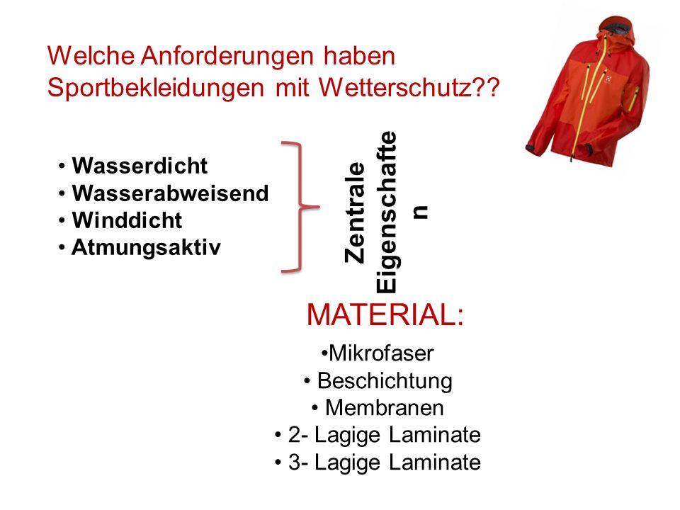 Welche Anforderungen haben Sportbekleidungen mit Wetterschutz?? Wasserdicht Wasserabweisend Winddicht Atmungsaktiv Zentrale Eigenschafte n MATERIAL: M